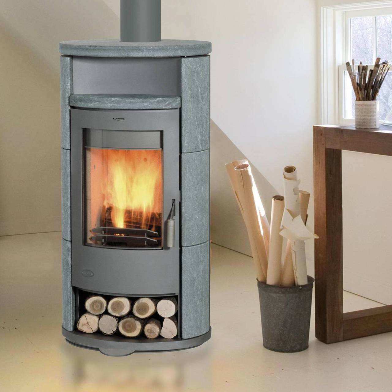 fireplace kaminofen drehbar alicante speckstein 8 kw mit teefach ebay. Black Bedroom Furniture Sets. Home Design Ideas