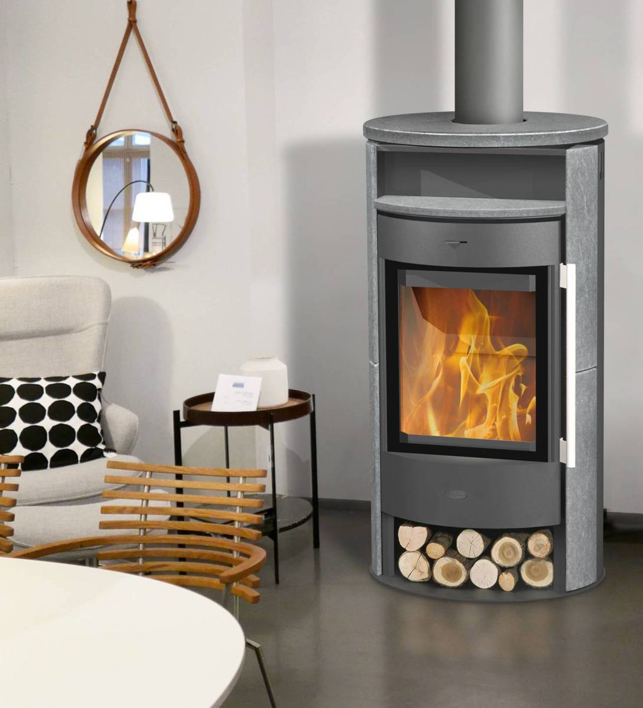 fireplace kaminofen durango speckstein 6 kw mit gro er vollglasscheibe ofen ebay. Black Bedroom Furniture Sets. Home Design Ideas