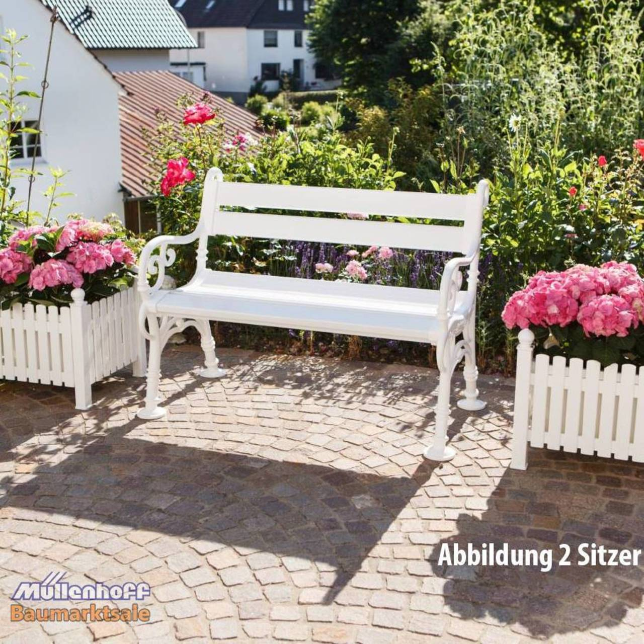gartenbank landhausbank blome linderhof 2 sitzer wei metall profiltr ger 4007248420016 ebay. Black Bedroom Furniture Sets. Home Design Ideas