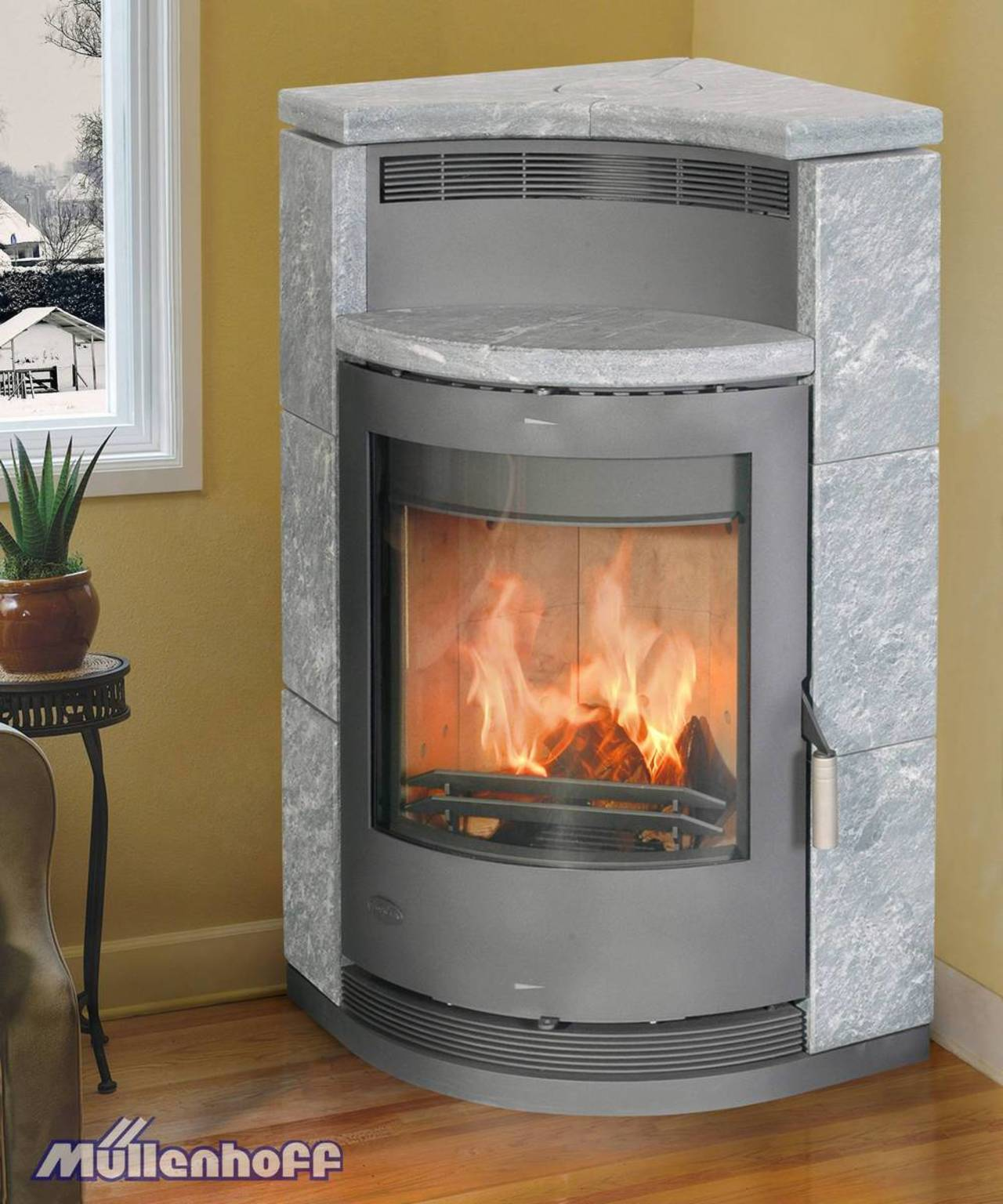 fireplace kaminofen lyon naturstein eck kamin 8 kw kamin ofen ebay. Black Bedroom Furniture Sets. Home Design Ideas