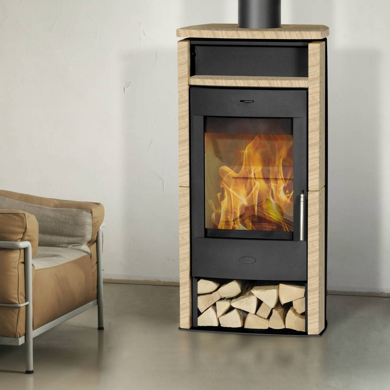 fireplace kaminofen santiago mit sandstein 6 kw panorama scheibe kamin ofen ebay. Black Bedroom Furniture Sets. Home Design Ideas