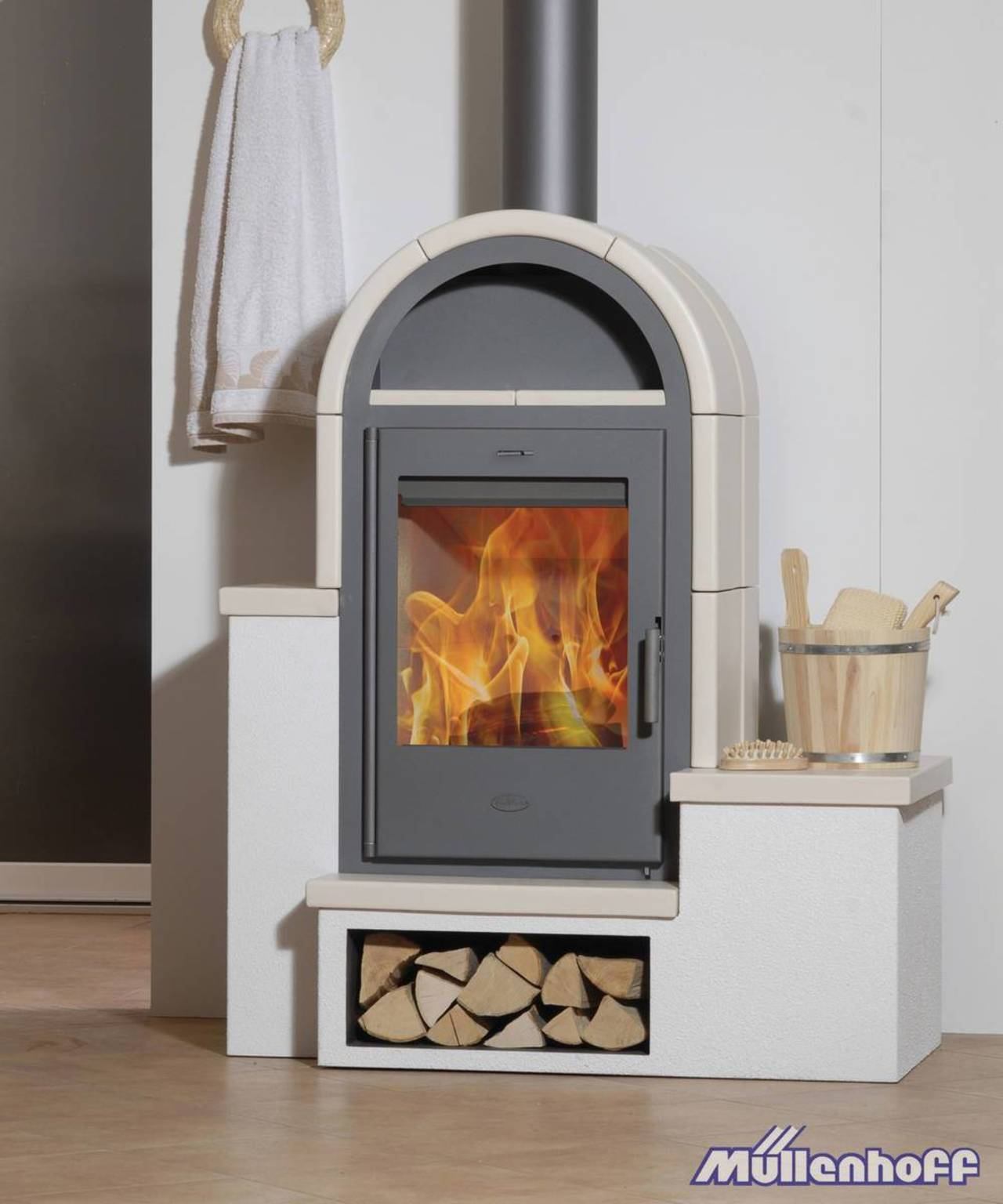 fireplace kaminofen serena mit kacheln beige sitzbank 7 kw kamin ofen holz ebay. Black Bedroom Furniture Sets. Home Design Ideas